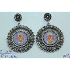Handmade Traditional tribal temple 925 Silver Ganesha Painting Earrings