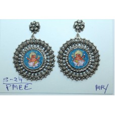 Traditional tribal temple 925 Sterling Silver Ganesha Painting Earrings
