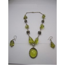 925 Sterling Silver Necklace Earring Set, Yellow Topaz Semi Precious Gemstone