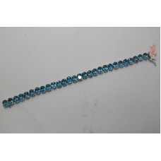 Handmade 925 Sterling Silver Real Natural Blue Topaz Bracelet
