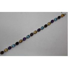Fashion 925 Sterling Silver, Natural Garnet Blue Topaz Amethyst stone Bracelet