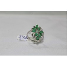 Stamped 925 Sterling Silver Ring with Emerald Gemstone Ring Size 14