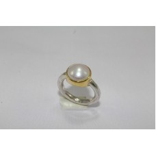 Stamped 925 Sterling Silver with Pearl Stone Ring Size 14 Gold Plated