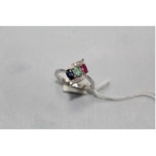 925 Sterling Womens silver ring, Real Gemstones & Diamonds, Ring Size No. 15