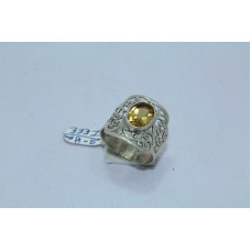 925 Sterling silver Women's ring Real Golden Topaz Filigree Shank Ring Size 17