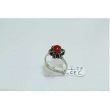 925 Sterling silver Women's Ring with Marcasites and carnelian Ston Ring Size: No. 14
