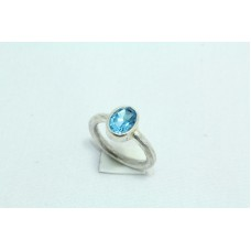 925 Sterling silver Women's ring Natural semi precious Blue Topaz Ston Ring Size:14