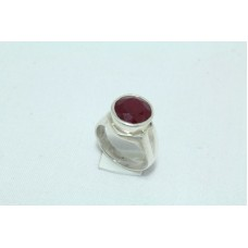 92.5 Hallmarked Sterling Silver Men's Ring, Heat Treated Ruby Ring size 17