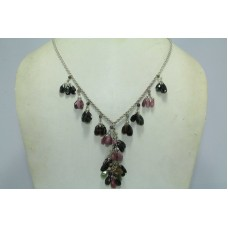 Fashion 925 Sterling Silver Real Natural Tourmaline Gemstone Necklace