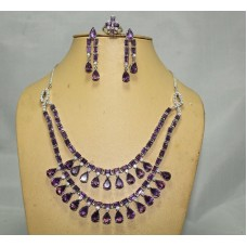 Fashion 925 Sterling Silver Amethyst & Zircon Ring Necklace Earrings Set
