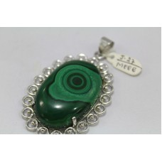 Handmade Designer 925 Sterling Silver Pendant Natural Malachite Gemstone