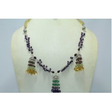 Fashion 925 Sterling Silver Amethyst Topaz Garnet onyx Gemstone Jhumki Necklace
