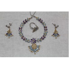 925 Sterling Silver Amethyst, Golden Topaz & Blue Top Ring Necklace Earrings Set