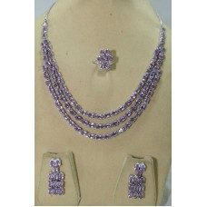 Handmade 925 Sterling Silver Purple Amethyst Gemstone Ring Necklace Earrings Set