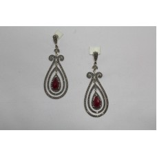 925 Sterling Silver Chandelier Earrings Marcasite & Red Stone Length 3 Inches