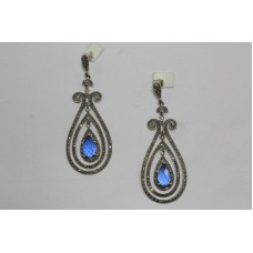 925 Sterling Silver Chandelier Earrings Marcasite & Blue Stone Length 3 Inches