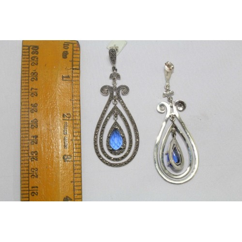 Earrings 925 sterling silver chandelier earrings marcasite blue stone length 3 inches aloadofball Image collections