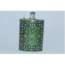 Handmade Green Enamel Cloisonne SILVER, Hip Liquor Whiskey Alcohol Flask 108 Grams