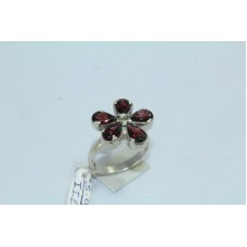 925 Sterling silver Women's ring Real Natural Garnet Stone Flower Design