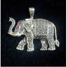 Sterling silver pendant 925 Elephant Marcasite and Ruby stone Pendant