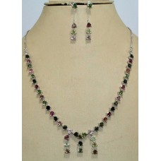 Stamped 925 Sterling Silver Topaz Multi colour Tourmaline Necklace Earring
