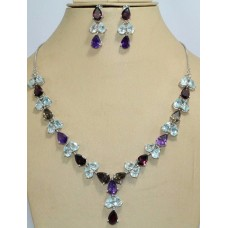Stamped 925 Sterling Silver Topaz Garnet Amethyst Gemstone Necklace Earring