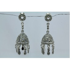 925 sterling silver earrings Marcasite Gemstones Jhumki Victorian Design