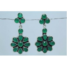 Fashion 925 sterling silver earrings with green onyx Gemstones 1.6 inch