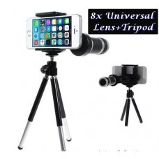 8X Zoom Universal Mobile Phone Telescope Camera Lens & Tripod + Adjustable Holder (Random Colours)
