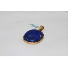 Handmade 18 Kt Yellow Gold Pendant with Natural Blue Lapis Lasuli Gemstone
