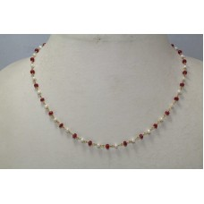 Beautiful 1 Strang Natural Real Ruby and Pearl Necklace 18 K Gold wire Necklace