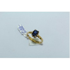 18 Kt Yellow Gold Ring Natural Blue Sapphire Gemstone Women's Ring size 6