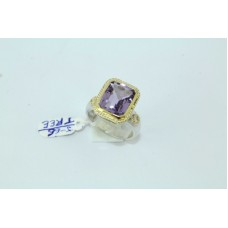 Combination of 14 Kt Gold & 925 silver Ring Natural Amethyst Gemstone..