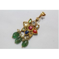 Traditional India Gold Navratna Uncut Diamonds Pendant Wax inside Emerald Bead