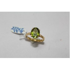18 Kt Yellow Gold Ring with Real Green Peridot Gemstone,  Ring Size 25