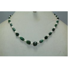 Beautiful 1 Strang Natural Real Emerald n Pearl Necklace 18K Gold Necklace
