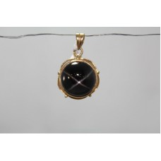 Handmade 18 Kt Yellow Gold Pendant with Natural Black Star Gemstone