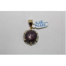 14 Kt Yellow Gold Pendant with Natural Star Ruby Gemstone & Diamonds Hallmarked