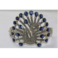 925 Sterling Peacock Bird Theme Silver Cuff Bracelet Stamped with Sapphire