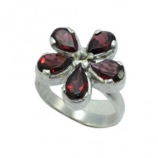 925 Sterling Silver Women's Ring Real Natural Garnet Stone Flower Design Ring Size No. 22