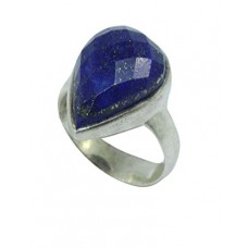 925 Sterling Silver Women's Ring Real Natural Chess Cut Lapiz Lasuli Stone Size No. 18