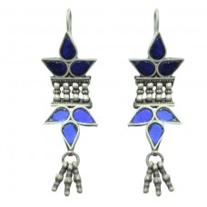 "925 sterling silver earring Tribal Jewellery with colour glass studded 2.2"" long"