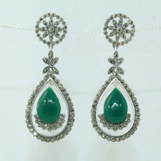 925 sterling silver earrings with Marcasite and Green onyx Gemstones