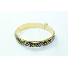 925 Sterling Silver Gold plated Enamel Meena Bangle flower and leaves Design