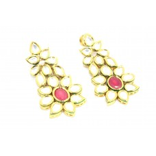 Jadau Polki Earrings Fashion Indian Women Wedding Jewelry Gold Plated Enamel - 9