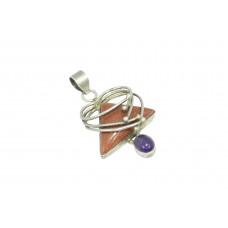 925 Sterling Silver Handmade Pendant Natural Orange Sandstone & Amethyst Stone