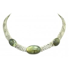 925 Sterling Silver chain choker Necklace Jewelry natural Labradorite gem stone