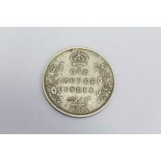 Antique British One Rupee India 1905 Edward VII King & Emperor Silver .916 Coin