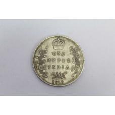 Antique British One Rupee India 1910 Edward VII King & Emperor Silver .916 Coin