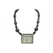 925 Sterling Silver tribal Pendant black beads necklace stones 25 inch